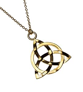 Triquetra Gold Dipped Pendant Necklace on Rolo Chain