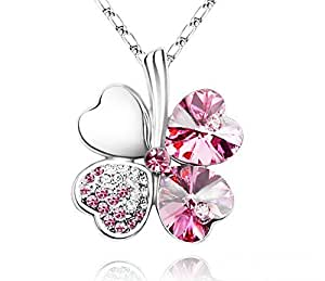 "Swarovski Elements Crystal Four Leaf Clover Pendant Necklace 19"" With A Gift Box -CN9034SG"