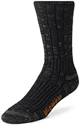 Wigwam Men\'s Merino/Silk Hiker Heavyweight Crew Socks, Olive Heather, Large