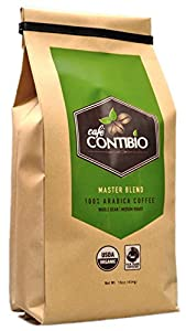 Cafe Contibio Master Blend Organic & Fairtrade Certified Gourmet Coffee Beans (1 Pound) 100% Arabica Specialty Grade Medium Roast by Café Contibio