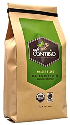 Cafe Contibio Master Blend Organic & Fairtrade Certified Gourmet Coffee Beans (1 Pound) 100% Arabica Specialty Grade Medium Roast