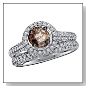 1 1/4 Carat Chocolate & White Diamond 14k White Gold Bridal Set Ring