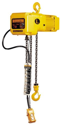 Harrington Snerp Series Die Cast Aluminum Single Speed Electric Chain Hoist With Push Trolley, 6' Pb Drop And Chain Container, 1 Ton Capacity, 10' Lift Height, 14 Fpm Lift Speed, 1.2 Horse Power, 115/230V