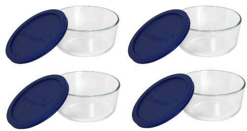 pyrex-storage-4-cup-round-dish-with-dark-blue-plastic-cover-clear-case-of-4-containers