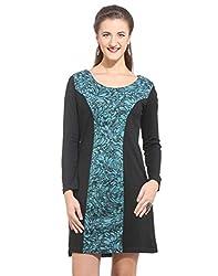 Purys Women's Shift Dress (E-150671SP_Blue Black_L)
