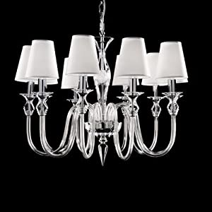 2400 Chandelier with Shade Size / Number of Bulbs: 55 cm H x 54 cm Dia / Six Bulbs, Finish: Gold, Shade / Dropper Colour: Clear Glass