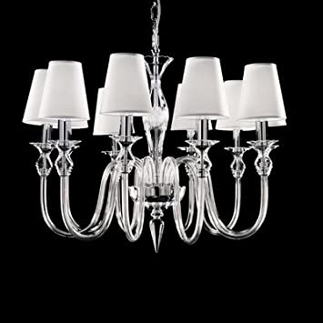 2400 Chandelier with Shade Size / Number of Bulbs: 55 cm H x 54 cm Dia / Three Bulbs, Finish: Gold, Shade / Dropper Colour: Amber