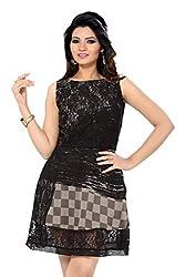 Ishin georgette grey and Black skater dress