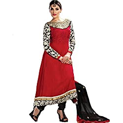 Rozdeal Women Chiffon Embroidered Unstitched Longsleeve Red And Black Anarkali Suit