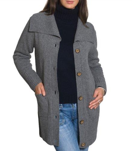 Womens Lambswool Long Cosy Cardigan Dark Grey Marl Extra Large