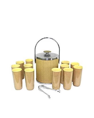 Uptown Down Vintage Ice Bucket Set, Tan/Yellow/Silver