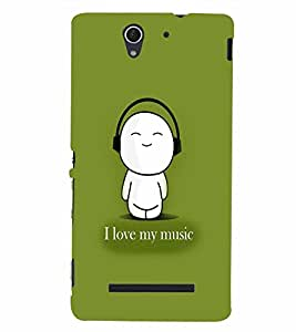PrintVisa Music Cute Quotes 3D Hard Polycarbonate Designer Back Case Cover for Sony Xperia C3 Dual