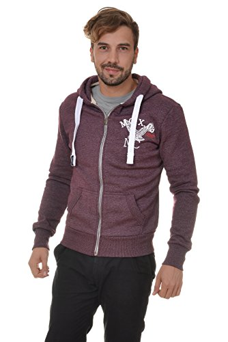 M.Conte Men Sweat-Shirt Zip Felpa da Uomo Giacca Jacket Rodrigo Wine, Size M