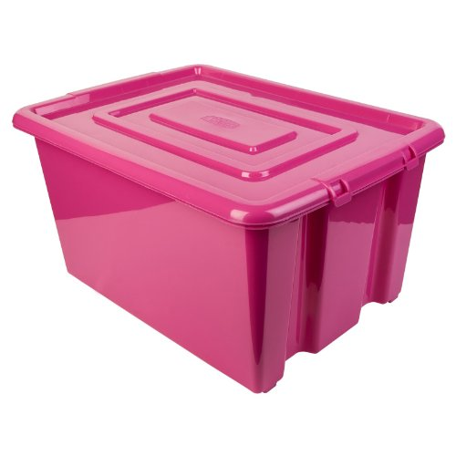 New Whitefurze Plastic Stackable Container Medium Storage Box With Lid 32l Pink