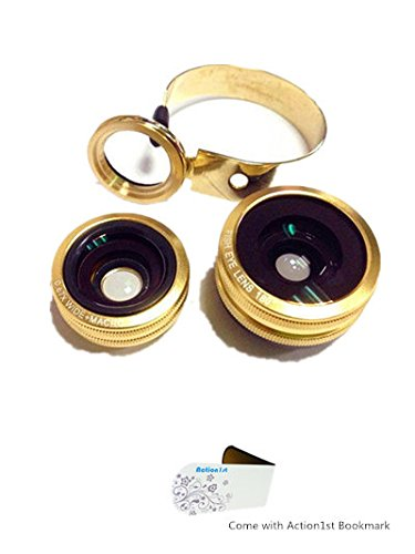Action1St Aluminum 3 In 1 Universal Circle Clip Lens Fisheye+Wide Angle+Macro For Most Mobile Phone Iphone 4 4S 5 5S 5C Samsung Galaxy S2 S3 S4 S5 Note 1 2 3 4 Htc One Blackberry Nokia Lenovo Sony Xperia, Ipad Ipod Android Tablet Laptops Pc (Golden)