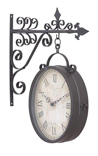 Deco 79 35414 Metal Outdoor Double Clock, 14 by 17-Inch