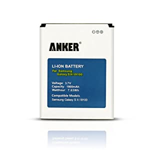Anker 1900mAh Li-ion Batterie pour Samsung Galaxy S II S2 Galaxy S2 GT-I9100, i9100