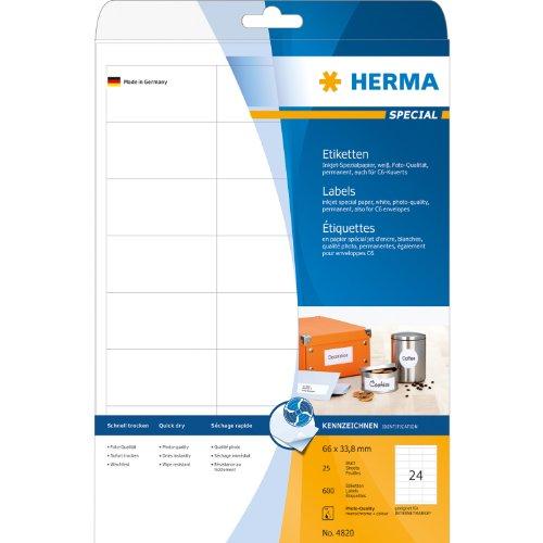 Etiquettes jet d'encre blanc 66x33,8 InkPrint Spec. 600 pcs HERMA 4820