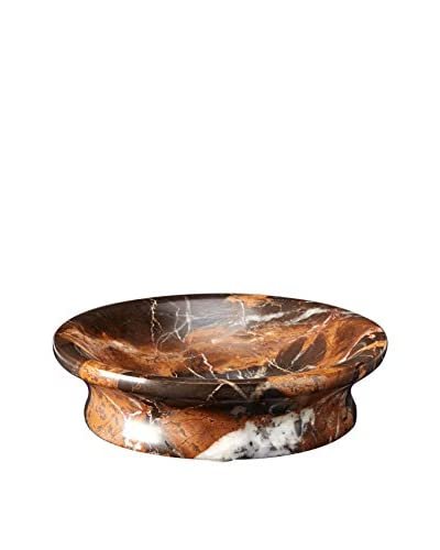 Marble Crafter Vinca Collection Marble Round Soap Dish, Black/Gold Marble