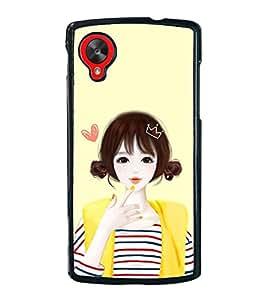 Cute Anime Girl 2D Hard Polycarbonate Designer Back Case Cover for LG Nexus 5 :: LG Google Nexus 5