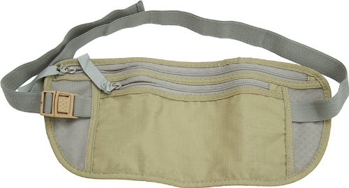 "SE Dual Zippered Durable Lightweight Travel Pouch Fanny Pack, 10""x3.5"", Olive"