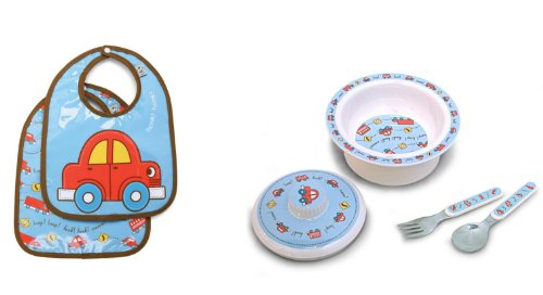 Sugarbooger Covered Bowl, Silverware, and 2 Bibs Set-Vroom Cars - 1
