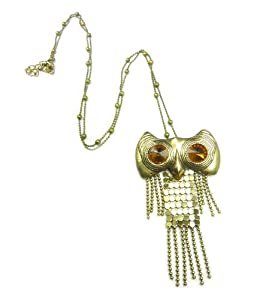 TdZ Vintage Bronze Tassel Crystal Eye Owl Long Necklace