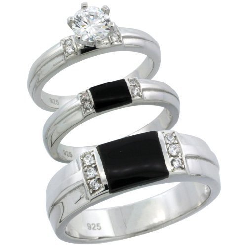 Sterling Silver 3-Piece His 6.5 mm & Hers 3.5 mm Black Onyx Trio Wedding Ring Set CZ Stones Rhodium Finish, Ladies Size 5