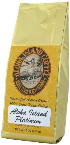 Aloha Island Coffee Platinum Organic 100% Pure Kona Coffee, 8 Oz Whole Bean, 8-Ounces