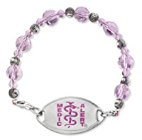 "Beautifully designed Pink & Silver Glass Beadedd Medical ID bracelet by MedicAlert® ""Anticoagulants"" i.e. Warfarin, Coumadin from MedicAlert Foundation®"