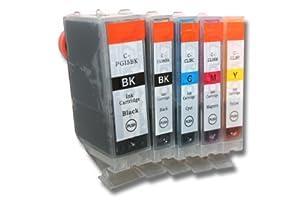 5 x TINTENPATRONEN DRUCKERPATRONEN Tinte Drucker Patrone Inkjet colour color bunt kompatibel zu CANON PGI-5BK CLI-8BK CLI-8C CLI-8M CLI-8Y - mit Chip