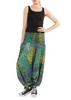 Peacock Print 2 in 1 Harem Pants Jumpsuit Green & Purple