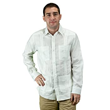 Mens mexican wedding shirt, guayabera shirt, white.