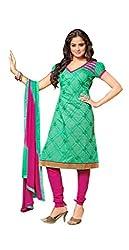 Divya Collection Women's Chudidar Set (MTV1063414-42_Green & Pink_42)