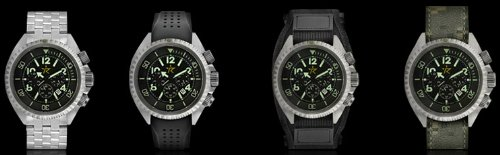 Rogue Warrior Avenger Silver Metal Band 200M Chronograph Watch Special Edition 4 Bands in 1 Package Deal (Silicone Rubber, Velcro, & Camo Digital Band Included)