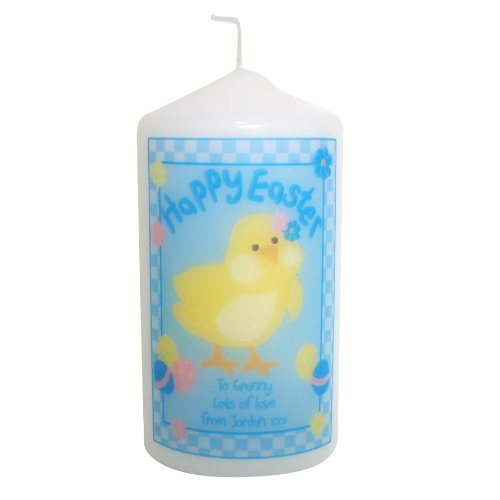 Happy Easter Chick Candle. This is a great product that can be personalised to your requirements ( please see main discription for full details ) Ideal gifts and presents for weddings, Christenings, Birthdays, Christmas etc...