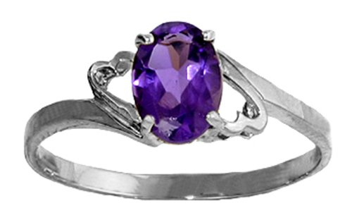 .925 Sterling Silver Promise Ring with Genuine Oval Amethyst