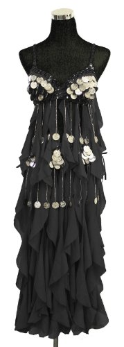 Belly Dance Bra Top & Hip Belt with Fringe & Coins Costume Set --Black 34 B,C