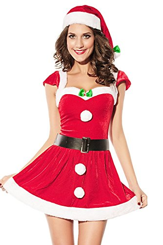 Hellojuncao Women's Sexy Santa's Wife Costume Fur Trim Dress Belt Hat