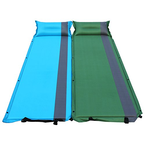 Joypopout 2 in 1 Self-Inflating Mattress Camping Hiking Sleeping Pad w/ Pillows