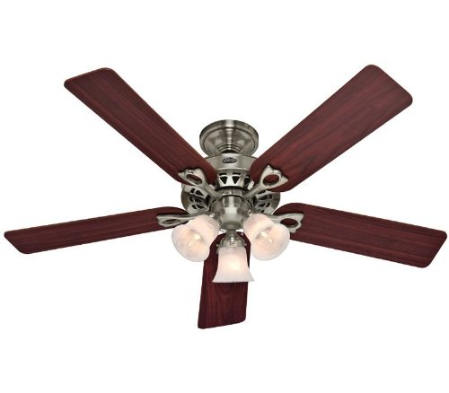 Hunter Fan Company 53117 The Sontera 52-inch Brushed Nickel Ceiling Fan with Five Cherry/Maple Blades and a Light Kit (52 Brushed Nickel Ceiling Fan compare prices)