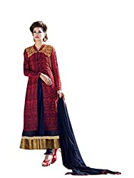 BanoRani Blue & Red Color Faux Georgette & Net Embroidery Full Length Anarkali Gown Style with Long Jacket Semi Stitched Dress Material