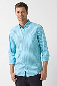 Tall Long Sleeve Button Down Poplin Bold Stripe Woven Shirt