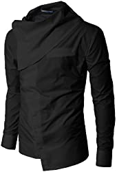 Doublju Mens Unique Turtleneck Unbalanced Button down Shirts
