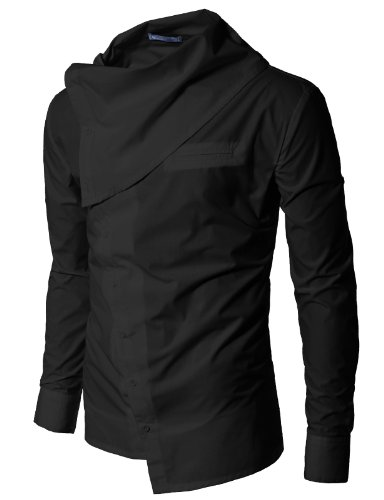 Doublju Mens Turtleneck shirts BLACK (US-S)