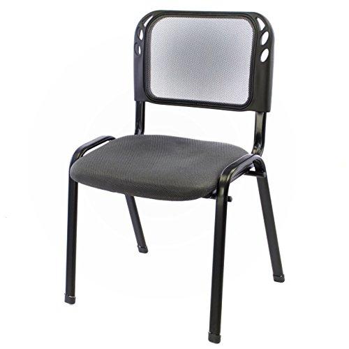 Brostuhl-Konferenzstuhl-Besucherstuhl-grau-gepolsterte-Sitzflche-stapelbar-525-x-45-x-80-cm-Stapelstuhl-Metallrahmen-schwarz