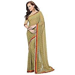 Radhika Sarees multicolor georgette printed border sari with fancy blouse