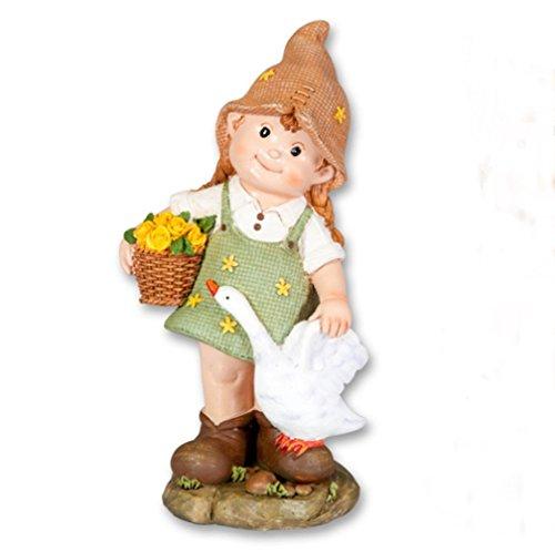 Deko Figur Mädchen mit Gans Korb Garten Kind Wichtel Junge Skulptur Zwerg Gnom