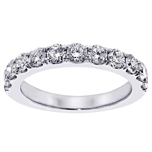 1.00 Ct Tw Split Prong Round Diamond Wedding Band In 14K White Gold - Size 4