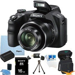Sony Cyber-shot DSC-HX200V 18.2 MP Exmor R CMOS Digital Camera with 30x Optical Zoom and 3.0-inch LCD BUNDLE with Sony 16GB Card, Spare Battery, Card Reader, Case, Mini Tripod, LCD Screen Protectors, Lens Cleaning Kit, Microfiber Cleaning Cloth